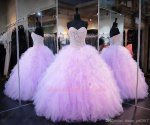 Puffy Tulle Densely Ruffles Floor Length Lilac Quinceanera Ball Gown Has Pearl
