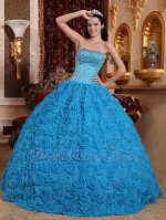 Full Beading Corset Azure Blue Quinceanera Ball Gown Fabric With Rolled Flowers Skirt