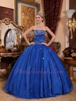 Cerulean Royal Blue Many Layers Mesh Plain Daughters Quinceanera Party Gown Essentials