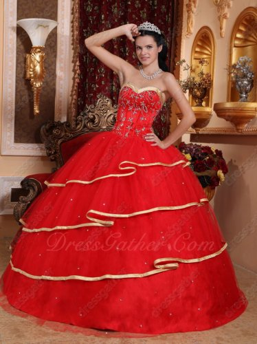 Red Layers Skirt With Gold Bordure Quinceanera Dress Buy One Get Two Specified