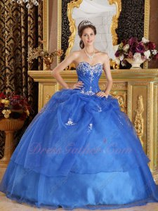 Girdling Waist Royal Blue Organza Winter Quinceanera Dress Silver Embroidery