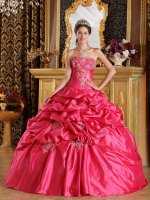 Embroidery Pick-ups Deep Rose Pink Quinceanera Gown Buy One Get One Free Specified