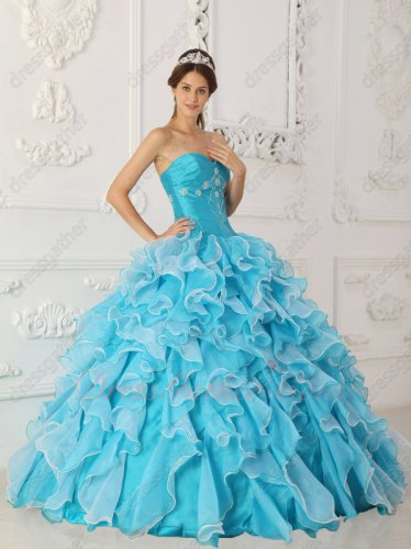 Sky Blue Off White Organza Mingled Thick Ruffles Quinceanera Dress Online