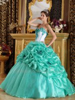 White Top Corset Apple Green/Jade Bubble Organza Quinceanera Ball Gown Cheap