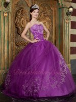Embroidery Five-pointed Stars Mauve Purple Quinceanear Adult Ceremony Dress