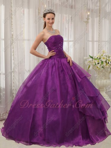 Grape Mauve Purple Organza Princess Quince Ball Gown Slip With Tulle Inisde