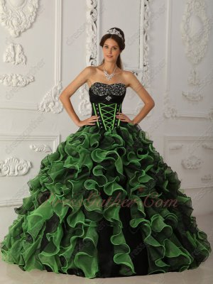 Spring Green/Black Mixed Thickset Ruffles Shoelace Quinceanera Ceremony Gowns