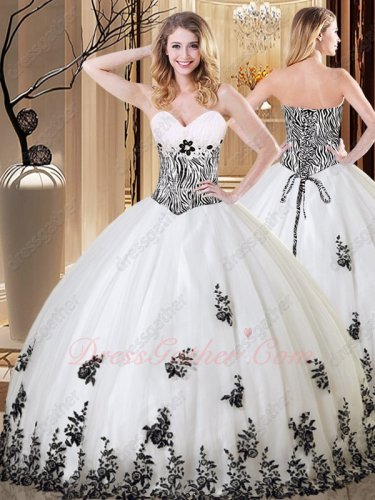 Zebra Bodice Floor Length Lacework Hem Vestidos De Quinceanera Gown White With Black