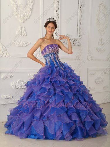 Mauve Purple/Royal Blue Mixed Dense Ruffles Quinceanera Dress Dropped Waist
