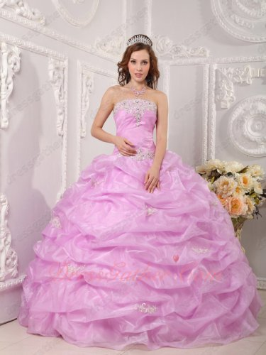 Pop Color Trend Lilac Organza Quinceanera Ball Gown Floor Length Full Bubble Skirt