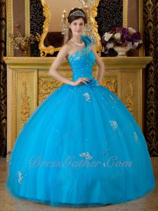 Azure Sky Blue Mesh Fluffy Quinceanera Ball Gown With One Shoulder Flouncing Strap