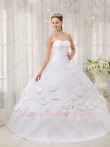 White Organza Quince Court Ball Gown Applique and Rose Flowers Decorated Plain Skirt
