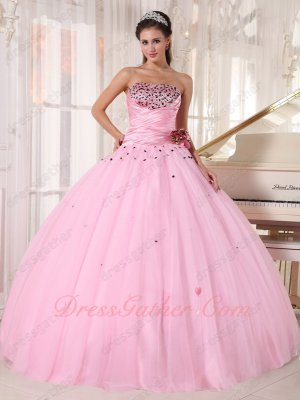 Memorable Baby Pink Taffeta Bodice/Mesh Tulle Flat Skirt Quince Celebrity Ball Gown
