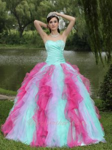 Mint/Apple Green Basque Lilac Hot Pink Mingled 3 Colors Ruffles Quincenaera Gown
