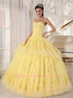Thwartwise Pin Tucks Polyester Boning Bodice Yellow 2 Layers Lacework Ball Gown Court