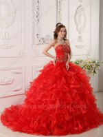 Strapless Layers Cake Quinceanera Palace Ball Gown Train With Golden Embroidery Bodice