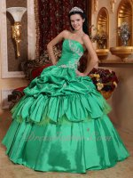 Latin America Strapless Spring Green Floor Length Quince Court Gown Like Cakes