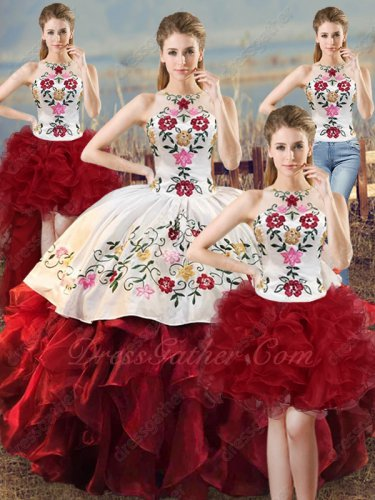 Embroidery Four-Pieces Quinceanera Girls White and Wine Red Different Wear Detachable