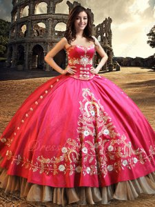 Fuchsia Embroidery Bodice and Overlay Western Quinceanera Gown Gold Organza Hemline