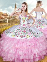 Western Hotel California Colorful Embroidery Ball Gown White With Pink Layers Organza