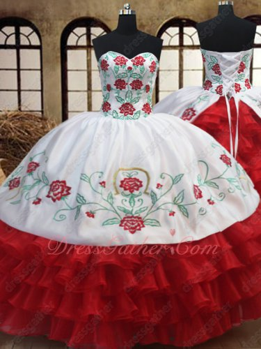 Western Embroidery Quinceanera Court Gown White With Red Layers Ruffles Skirt
