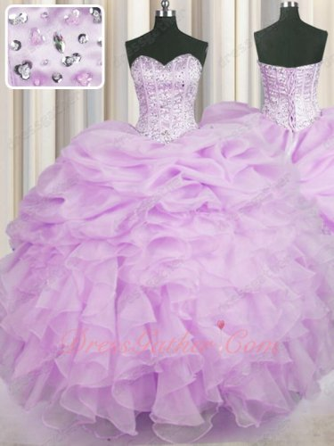Designer Prefer Color Lilac Organza Lines and Beadwork Quinceanera Ball Gown Stylish
