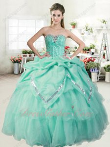 Apple Green Basque Quinceanera Gown Bubble With Sparkle Silver Sequin Edging Embellish