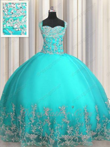 Double Wide Straps Cross Back Turquoise Sweet 15 Ball Gown Silver Embroidery