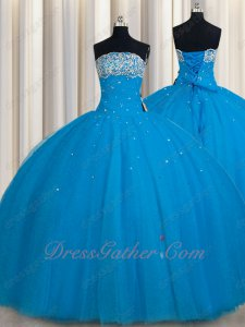 From Bust To Waist Full Polyester Boning Deep Dodger Sky Blue Quinceanera Gown Smart