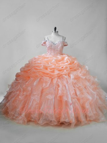 Peach Organza Double Straps Off Shoulder Bluging and Ruffles Puffy Quinceanera Gown
