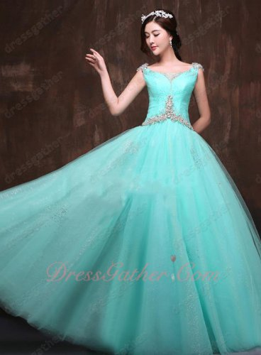 Mint Aqua A-line Bateau Ruched Crystal Sparkle Tulle Dress Dance Round Skirt