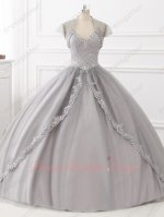 Stylish Double Straps Appliques Blouse Silver Tulle Quinceanera Ball Gown and Jacket