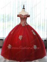 Off Shoulder Basque Horsehair Hemline Puffy Carnival Festival Ball Gown Red With Gold