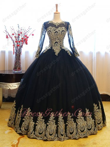 See Through Scoop Long Sleeves Black Quinceanera Gowns Attire Gold Pineapple Pattern