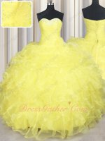 Brilliant Rape Flower Yellow Organza Waterfalls Vestidos de Quinceanera Gown Maiden