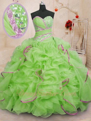 Mature Sweep Train Quinceanera Ball Gown Spring Green With Mauve Ruffles Edging Details