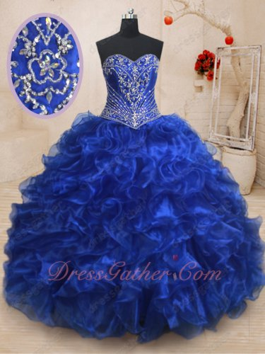 Designer Silver Embroidery Basque Quinceanera Theme Ball Gown Has Train Royal Blue