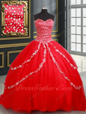 Symmetrical Applique Edging Cover Layers Corset Back Red Quinceanera Gown Little Train