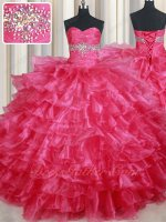 Fuchsia Organza Cake Layers Quinceanera Ball Gown Custom Tailor High Quality Guarantee