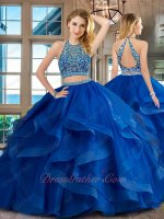 Elastic Horsehair Edging Ruffles Two Pieces Show Wasit Quinceanera Ball Gown Royal Blue