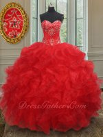 Dropped Waist Silver Embroidery Basque Red Wave Ruffle Quinceanera Gown Black Friday