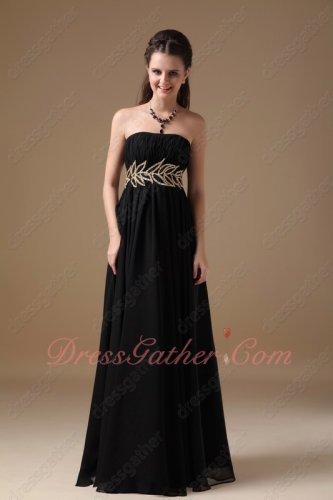 Hot Sell Black Chiffon Long Senior Prom Formal Dress Waist Beaded Gold Leaves