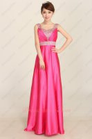 Beaded Wide Straps Hot Pink Friends Gathering Prom Dress Essentials