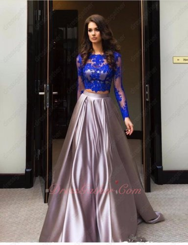 Rosy Brown Satin Acetate Two-Pieces Party Gown Covered With Royal Blue Lace