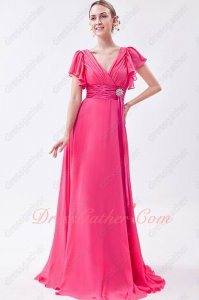 Short Ruffle Sleeves Cover Shoulder/Arms Magenta Chiffon Mother Formal Dress Decent