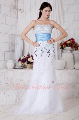 Sweetheart Pure White Organza Prom Dress Factory Direct With Beading