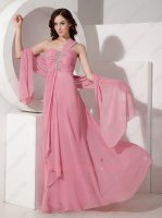 Factory Direct Sell Salmon Rose Pink One Strap Formal Prom Party Dress With Shawl