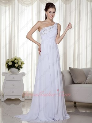 One Strap White Chiffon Little Train Festival Formal Evening Gowns High Waist