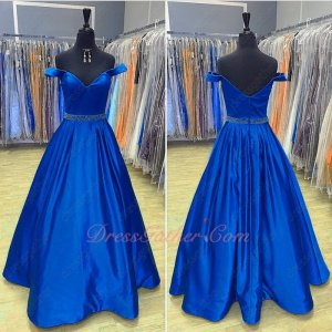 Draped Royal Blue Satin Skirt With Pockets Not Puffy Ballroom Dancing Gown