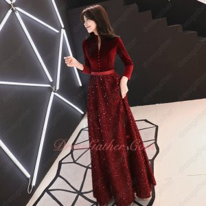 V-Shaped Wine Red Velvet Sparkle Sequin A-line Skirt Evening Gown Attractive